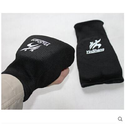 黑白2色棉质2排拳套空手道空手道护具露指两排并指一击手套跆拳道护手