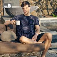 三枪 春季新款 2017春夏新品 纯棉彩条圆领短袖短裤男家居服套装男士睡衣