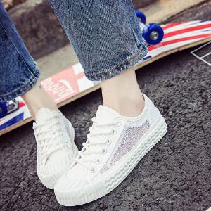 2017年新款夏季女士进口蕾丝网鞋平底系带小白鞋潮流帆布鞋