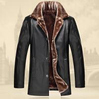 男士时尚PU皮衣英伦男装秋冬宽松大码上衣潮男保暖中长款夹克外套