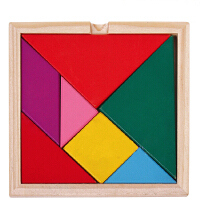 儿童早教益智智力七巧板 彩色百变积木 木制七巧板