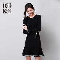 限时抢欧莎冬装新款休闲时尚简约修身长袖喇叭袖连衣裙D13027