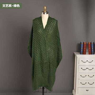 新款女士仿羊毛针织镂空围巾粗线编织空花披肩_绿色