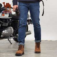 骆驼男装 秋季新款时尚都市中腰直筒拉链牛仔裤青年长裤子男