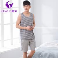 香港康谊男士睡衣男夏季纯棉家居服背心外穿休闲家居服套装 睡衣