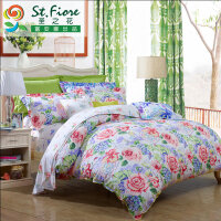富安娜家纺 圣之花纯棉印花四件套全棉床上用品套件恰逢花开