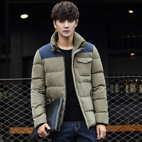 冬装男士羽绒服 潮男韩版修身中长款男装青年时尚拼接撞色羽绒服外套