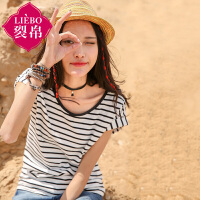 裂帛2017夏季新款圆领套头条纹连肩短袖针织T恤海魂衫女51160418