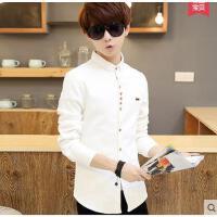 青年男士纯色休闲白寸衫韩版修身潮流衬衣个性时尚男男装长袖衬衫