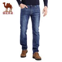 骆驼男装 秋季新款中腰拉链修身小脚长裤子商务休闲牛仔裤男