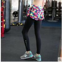健美操高弹力瑜伽健身裤女跑步运动长裤打底紧身速干假两件九分裤