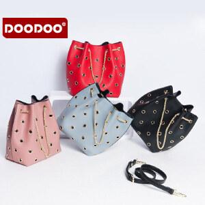 DOODOO 包包2017新款春夏女包水桶包女 子母包时尚镂空手提包韩版单肩包 D6112 【支持礼品卡】