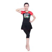 中老年广场舞服装 套装夏秋短袖演出服装交谊舞蹈黑色裙裤