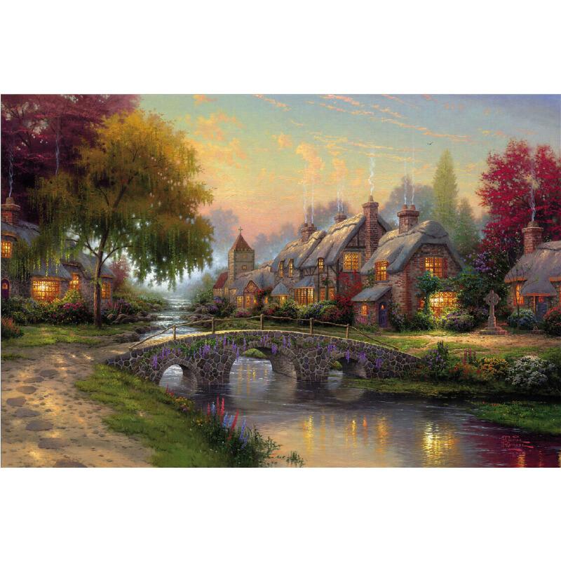 1000片木质拼图500大师托马斯唯美风景油画 春末夏至