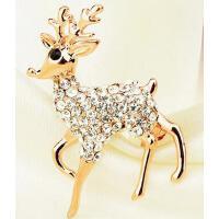 胸针女 配饰 饰品 圣诞麋鹿韩版 胸花女毛衣配饰装饰满钻别针领针