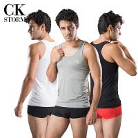 CK STORM 男士背心 舒适基础系列 精梳棉打底衫 运动款弹力修身圆领背心三件装