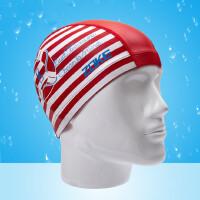 儿童泳帽男女童莱卡硅胶防水游泳帽小童婴儿游泳条纹永帽