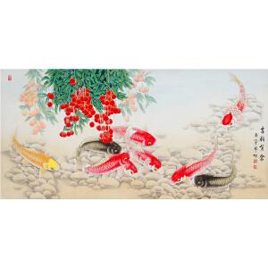 《吉利有余》【真迹R553】带防伪钢印,中国女工笔画协会委员,书画家协会一级美术师张一娜