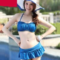 分体裙式加厚比基尼泳衣钢托大胸性感聚拢温泉海边抹胸