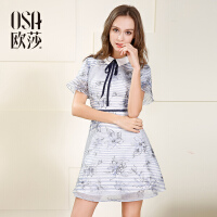 osa欧莎2017夏装新款女装 显瘦条纹文艺气质短袖连衣裙S117B13020