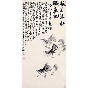 李苦禅 原装旧裱《桃花流水鳜鱼肥》纸本立轴