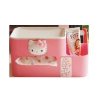 低价包邮 日照鑫 HELLO KITTY凯蒂猫创意纸巾盒抽纸盒 多功能塑料办公桌面收纳盒(一个装)