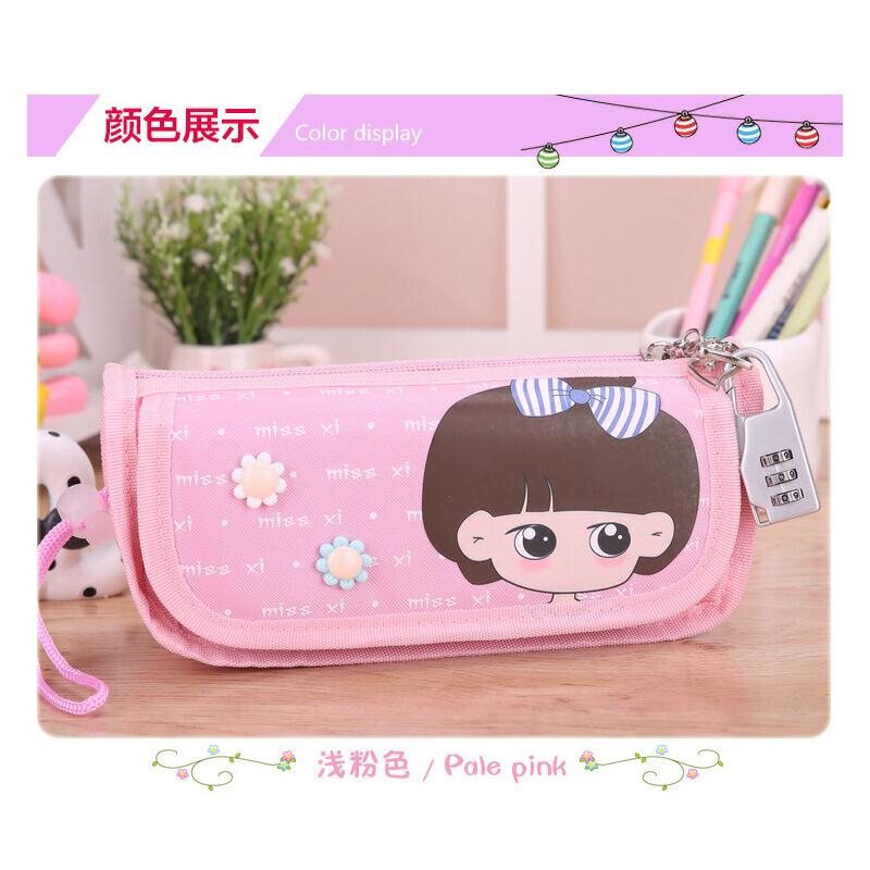 韩版简约可爱铅笔袋女孩学生多层密码锁铅笔盒大容量文具袋_1042小希