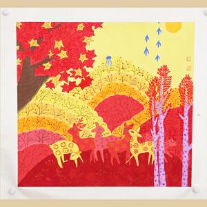 福禄(鹿)中国农民画之乡,山东青州十佳农民画画家之一王化芹