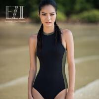 2017新款弈姿EZI莱卡专业运动性感时尚显瘦连体学生女游泳衣1313a