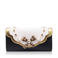 GUCCI古琦牛皮材质珍珠蝴蝶结装饰女士手拿包 支持礼品卡支付