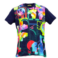 Versace/范思哲VERSACE JEANS深蓝色纯棉五彩印花图案男士短袖T恤1