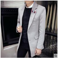 韩版新款时尚呢子男士外套修身毛尼大衣男中长款青年翻领风衣