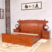 包邮简迪红木家具卧室家具1.8米大床新中式实木床双人床兰亭序雕花梨木床大床主卧婚床