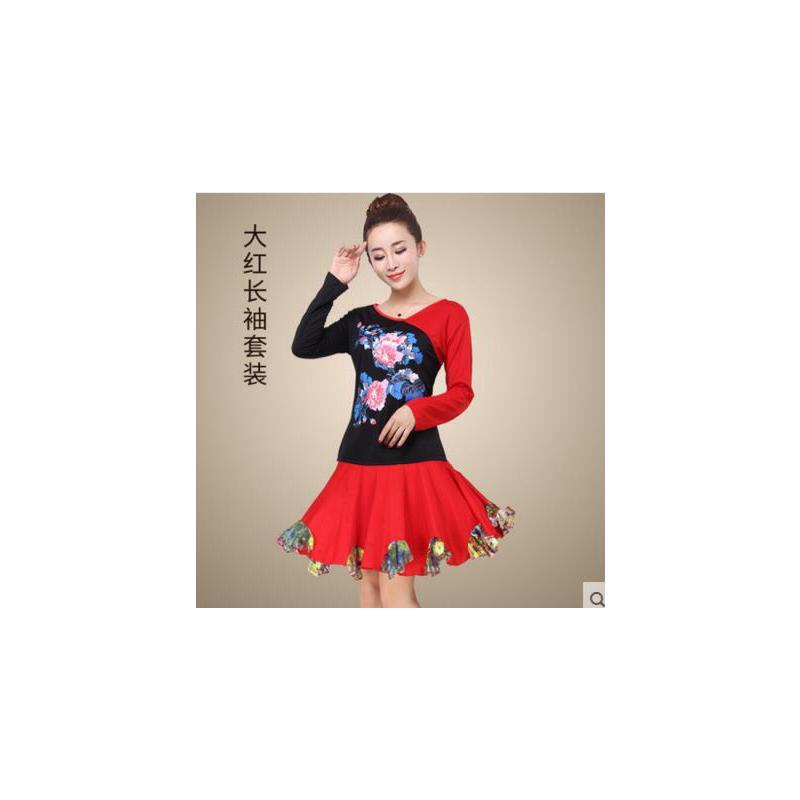 简约拼色大裙摆 广场舞蹈服装套装女_红色长袖,l