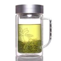 富光双层玻璃杯 700B-520 透明带盖过滤泡茶杯 玻璃水杯子 520ml口杯
