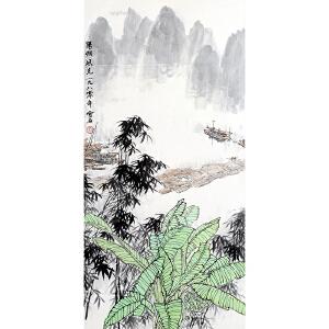 白雪石《阳朔风光》纸本镜片