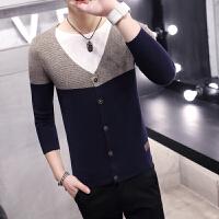 秋季男士V领开衫韩版修身针织衫潮男休闲撞色毛衣