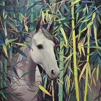 【艺术生活】家居装饰精品版画 艺术收藏品 竹子与马