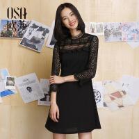 OSA欧莎女装2017春季新品 气质性感镂空黑色连衣裙S117A13058