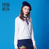 限时抢欧莎冬季新款女装 显瘦纯色翻领套头毛针织衫女冬D16020