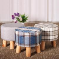 亿家达换鞋凳时尚圆凳实木矮凳创意穿鞋凳布艺沙发凳板凳小凳子