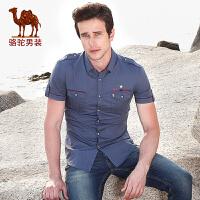 骆驼男装 夏季新款军旅风短袖衬衫 男士时尚修身纯棉印花衬衣