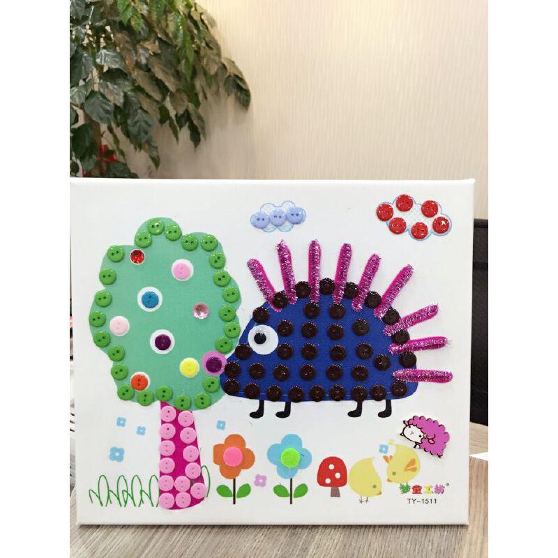 手工制作 幼儿园扣子粘贴画 玩具木质相框 底板采用广告防水喷绘布