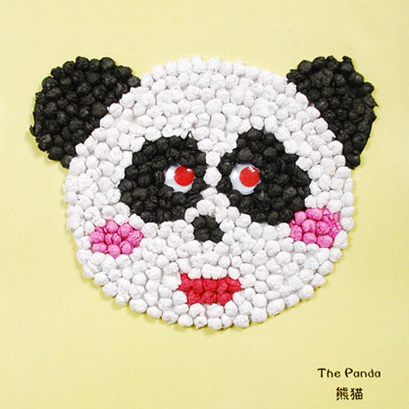 手揉纸搓纸画儿童手工制作材料包diy创意粘贴画智力玩具_熊猫
