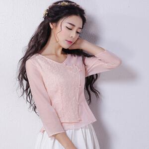 烟花烫2017夏秋新女装甜美气质绣花蕾丝修身雪纺衫衬衫女乔影