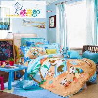 富安娜家纺 酷奇智 儿童四件套 卡通纯棉床单被套 全棉床品 快乐奶爸 蓝色