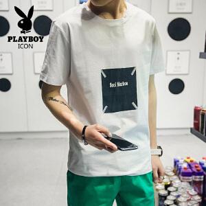 花花公子 2017新款夏季男士韩版圆领短袖t恤青年半袖体恤潮流修身男装