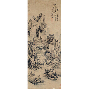 郭熙 原装旧裱 沈周题《山水》纸本镜片