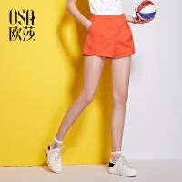 OSA欧莎2016夏季新品 简约压褶细节真口袋休闲短裤女 B52050