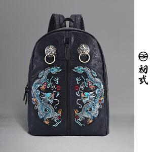 初�q中国风潮牌复古书包双青龙戏珠刺绣狮子头双肩背包男女41112